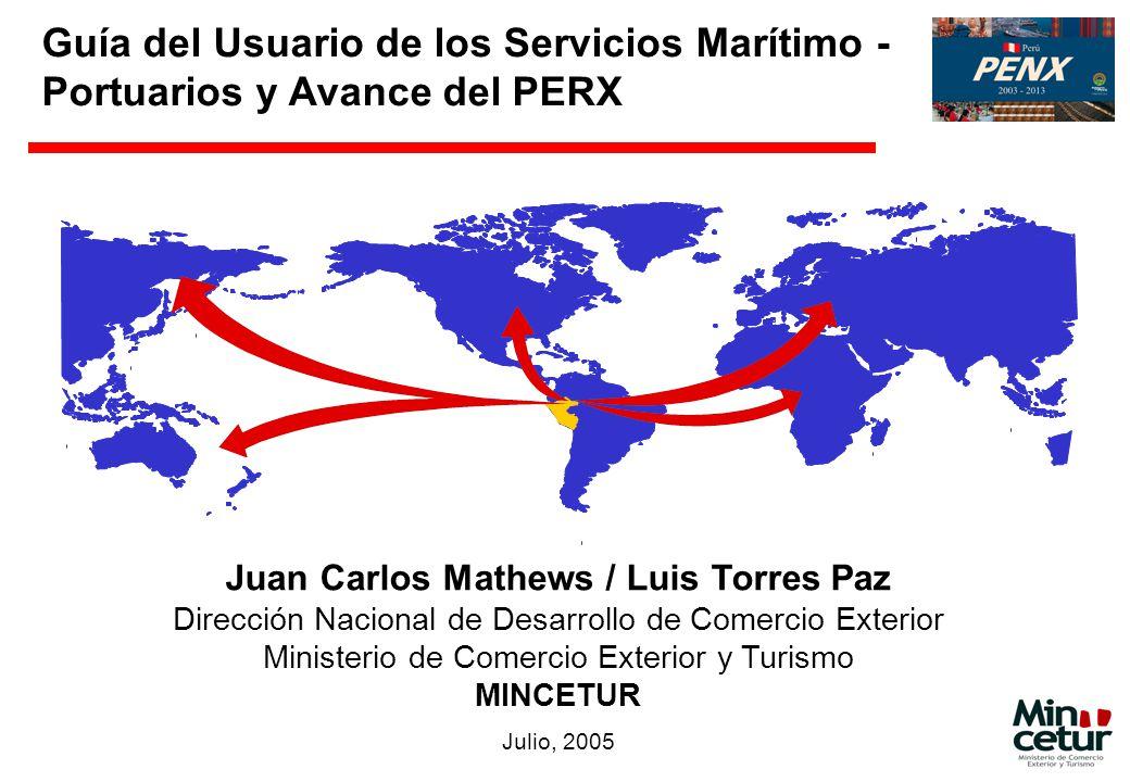 Guía del Usuario de los Servicios Marítimo - Portuarios y Avance del PERX