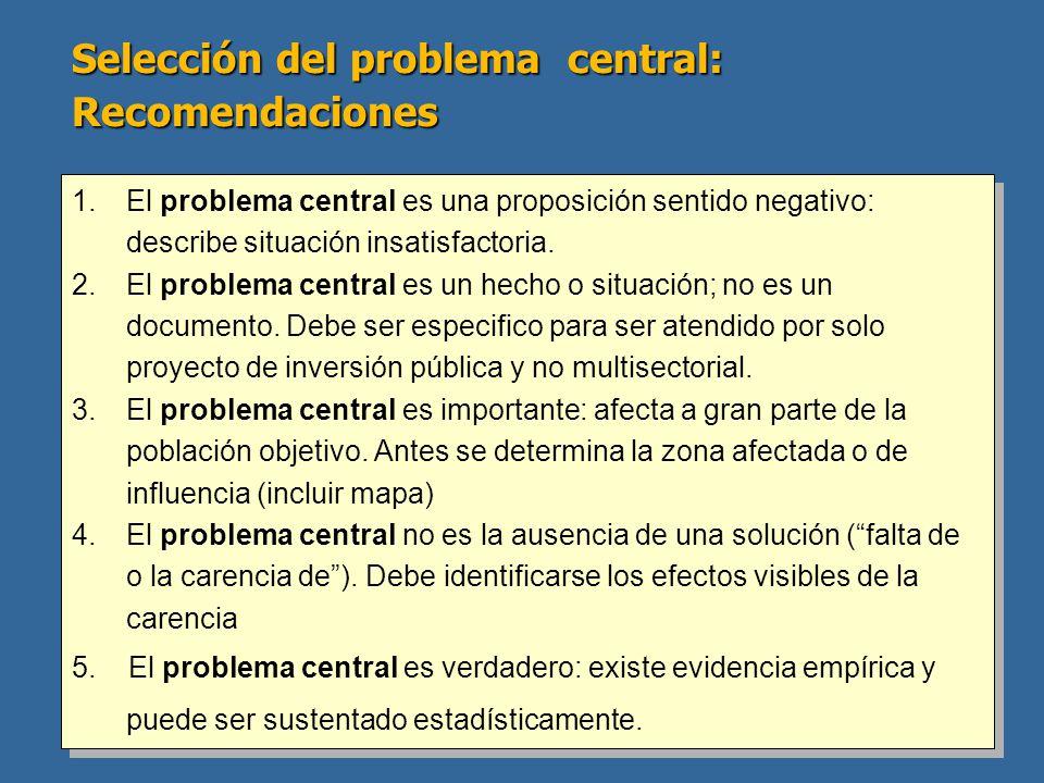 Selección del problema central: Recomendaciones