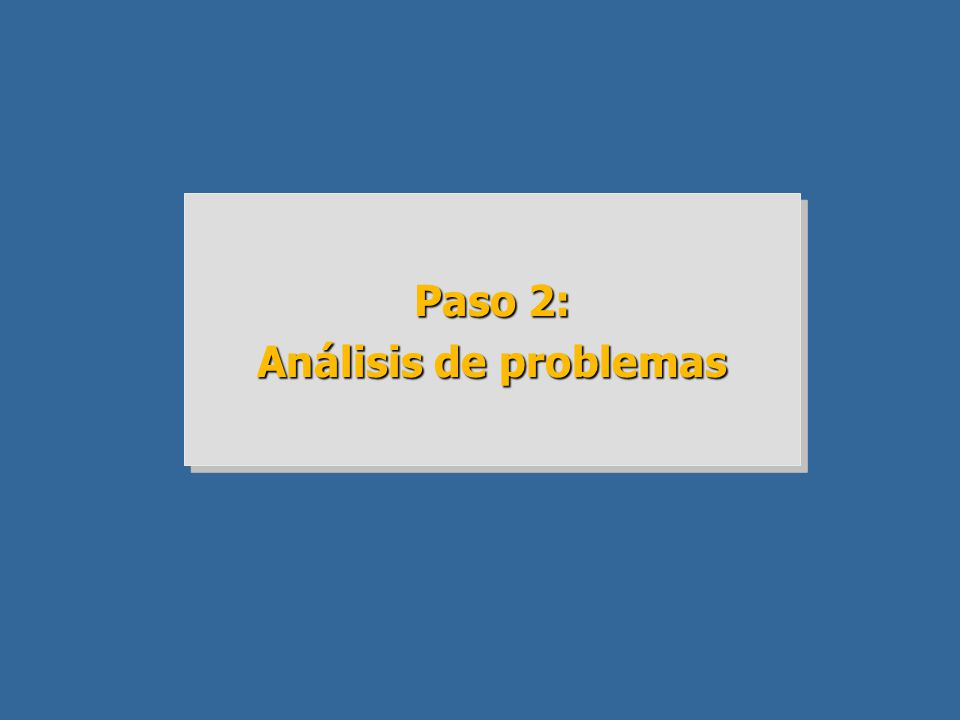 Paso 2: Análisis de problemas