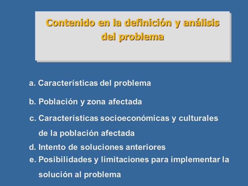Contenido en la definición y análisis del problema