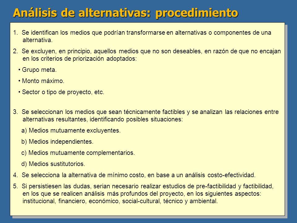 Análisis de alternativas: procedimiento