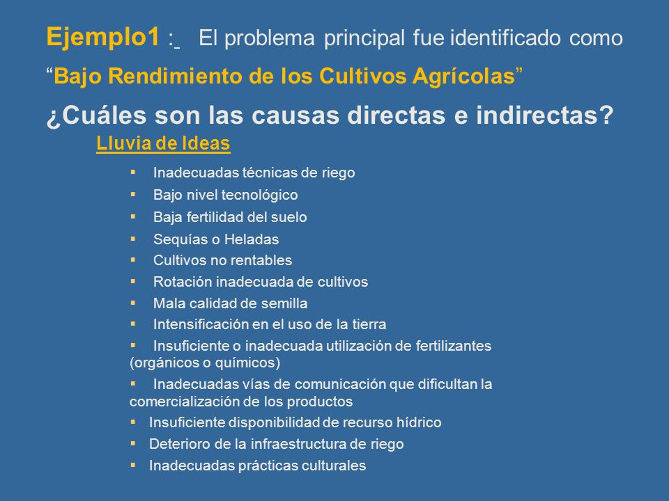Ejemplo1 : El problema principal fue identificado como