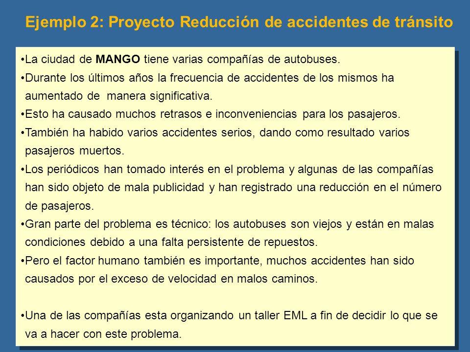 Ejemplo 2: Proyecto Reducción de accidentes de tránsito