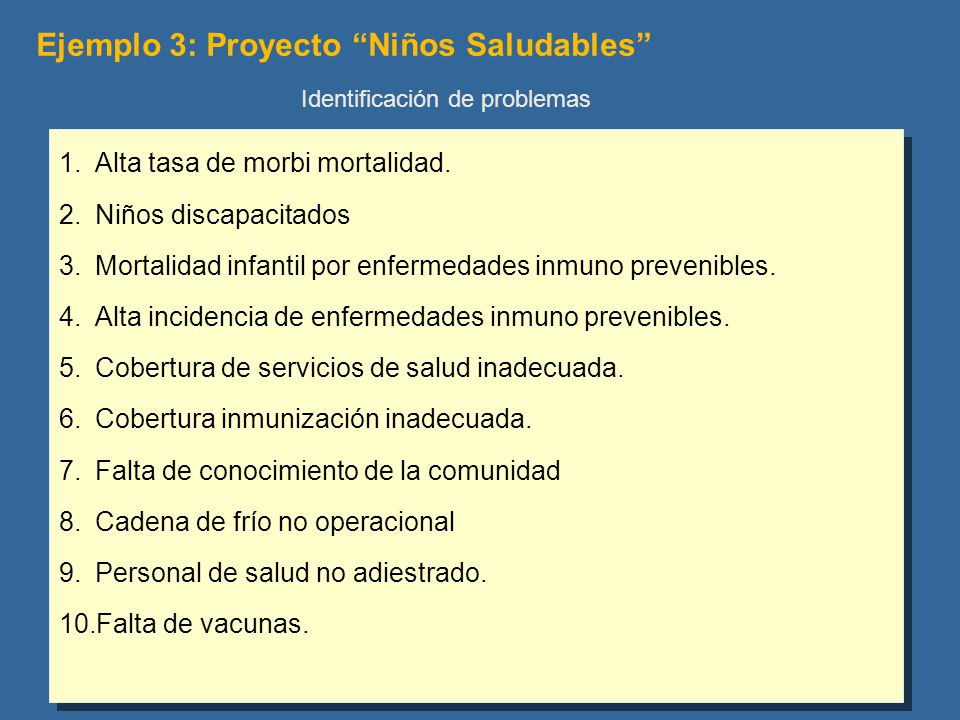 Ejemplo 3: Proyecto Niños Saludables