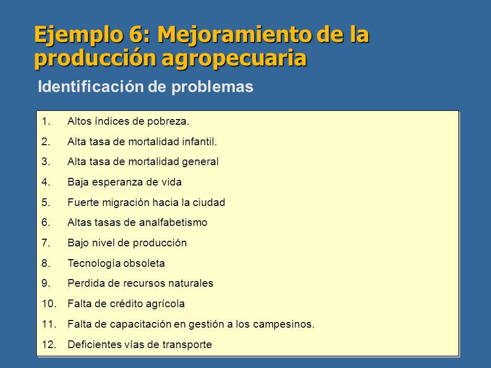 Ejemplo 6: Mejoramiento de la producción agropecuaria