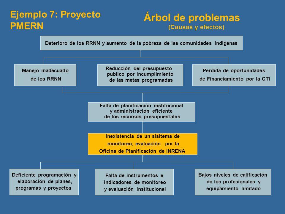 Árbol de problemas Ejemplo 7: Proyecto PMERN (Causas y efectos)