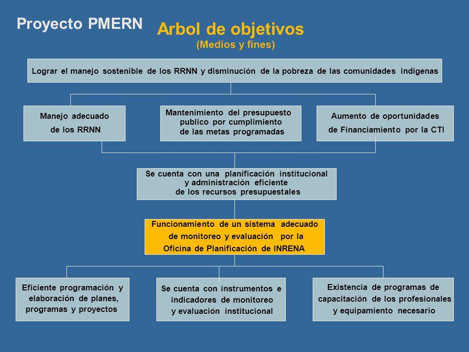 Arbol de objetivos Proyecto PMERN (Medios y fines)