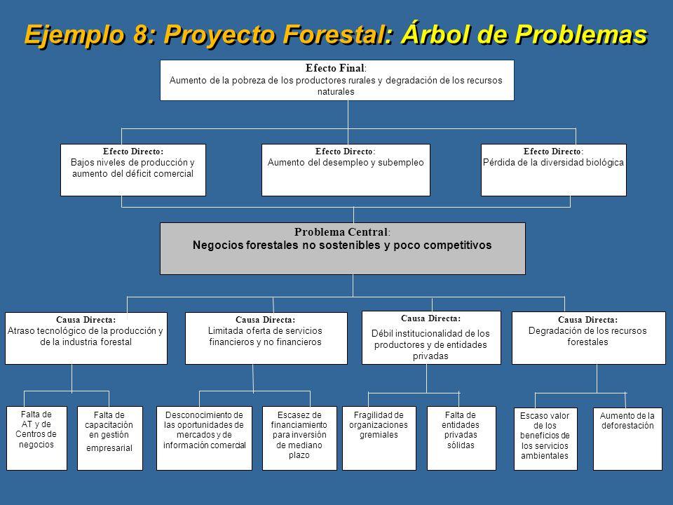 Ejemplo 8: Proyecto Forestal: Árbol de Problemas