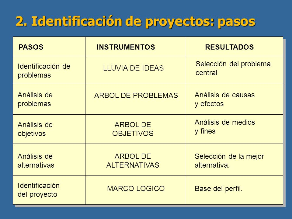 2. Identificación de proyectos: pasos