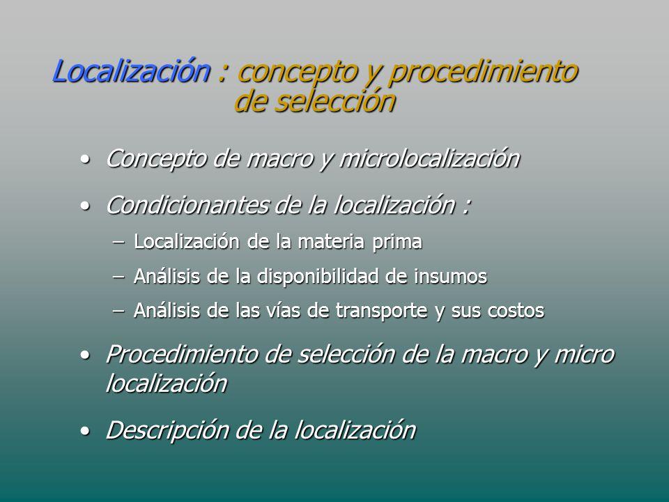 Localización : concepto y procedimiento de selección