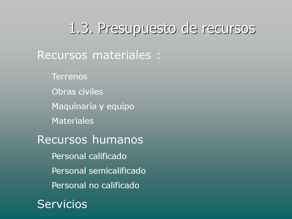 1.3. Presupuesto de recursos