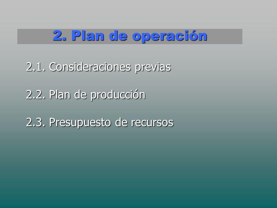 2. Plan de operación 2.1. Consideraciones previas