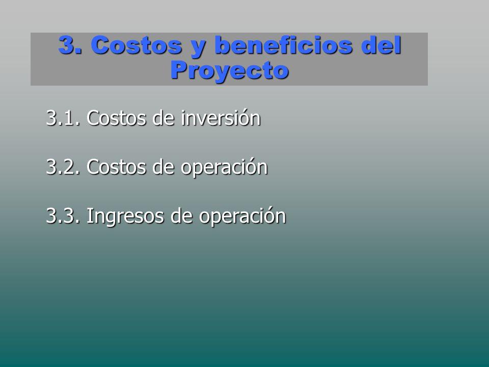 3. Costos y beneficios del Proyecto