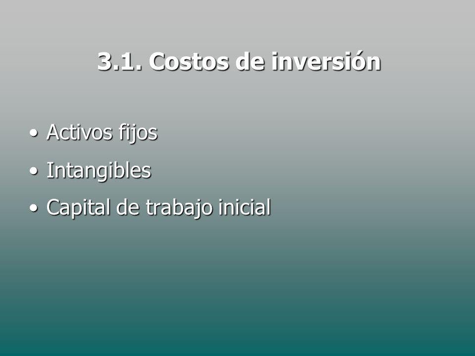 3.1. Costos de inversión Activos fijos Intangibles