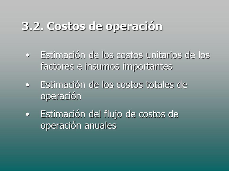 3.2. Costos de operación Estimación de los costos unitarios de los factores e insumos importantes.