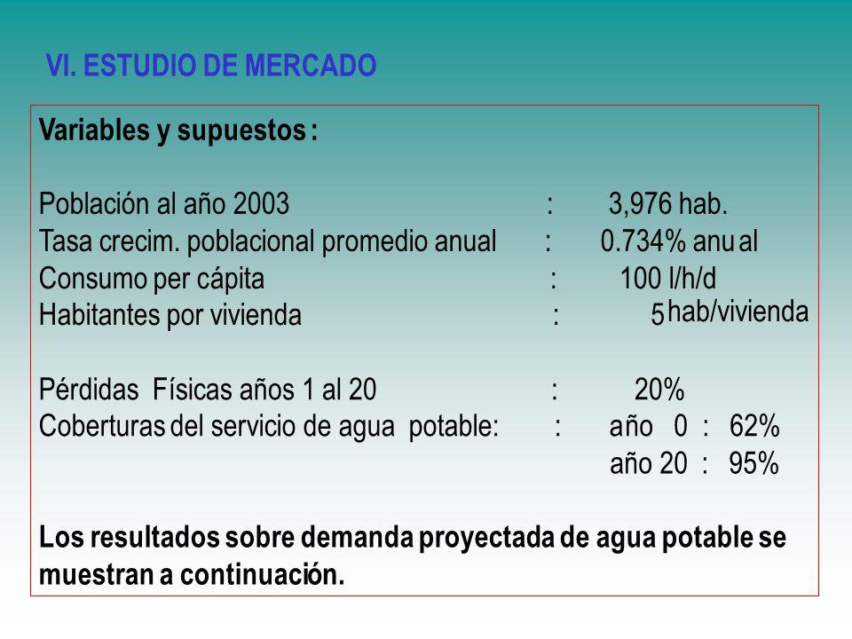 VI. ESTUDIO DE MERCADO Variables y supuestos : Poblaci. ó. n al a. ñ. o 2003 : 3,976 hab.
