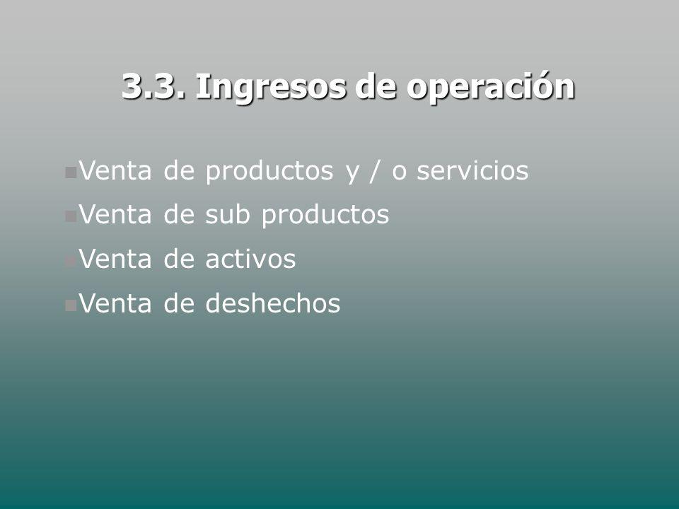 3.3. Ingresos de operación Venta de productos y / o servicios