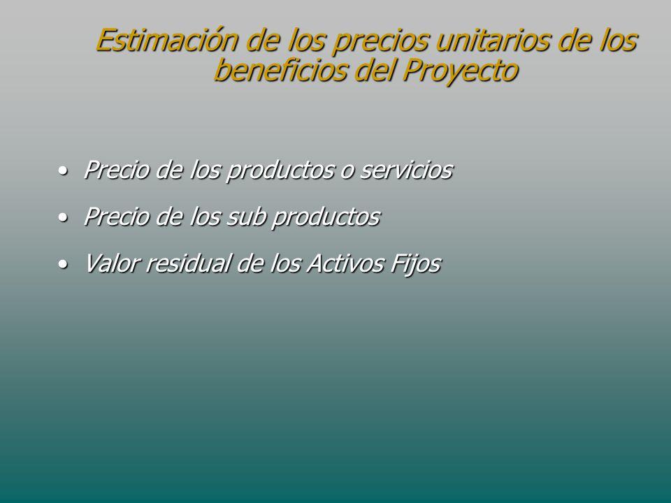 Estimación de los precios unitarios de los beneficios del Proyecto