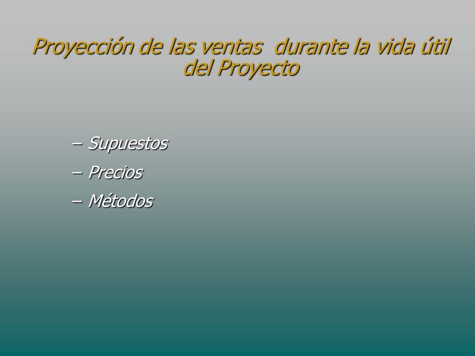 Proyección de las ventas durante la vida útil del Proyecto
