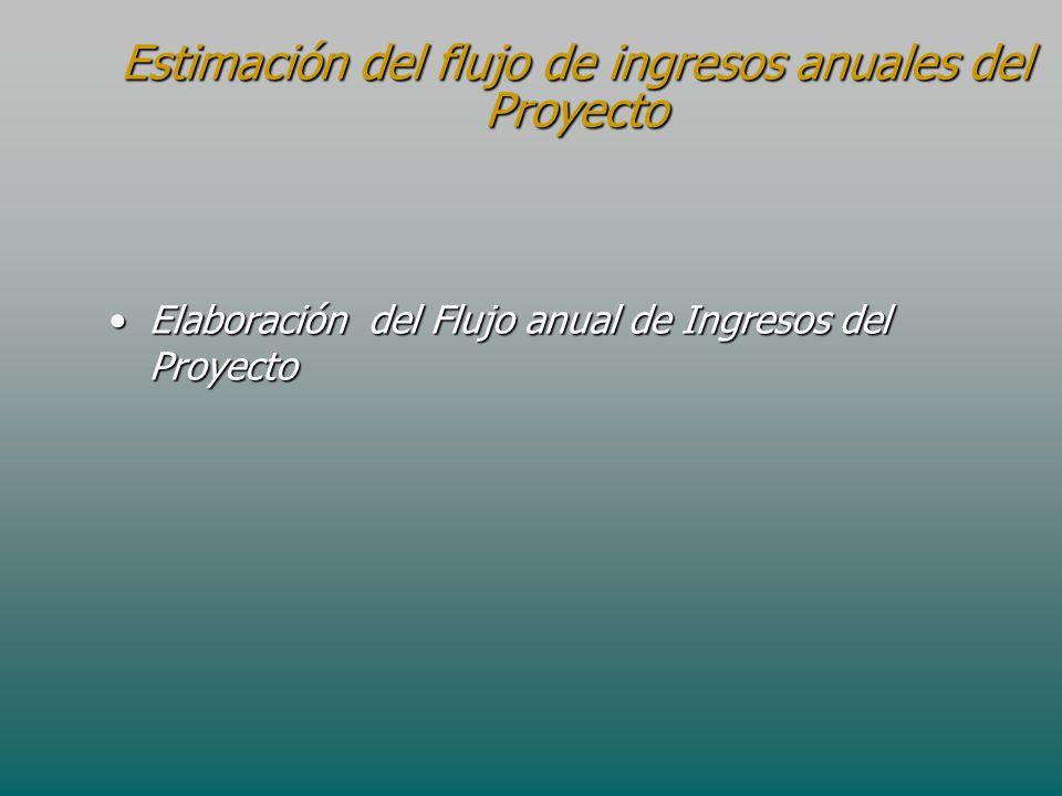 Estimación del flujo de ingresos anuales del Proyecto