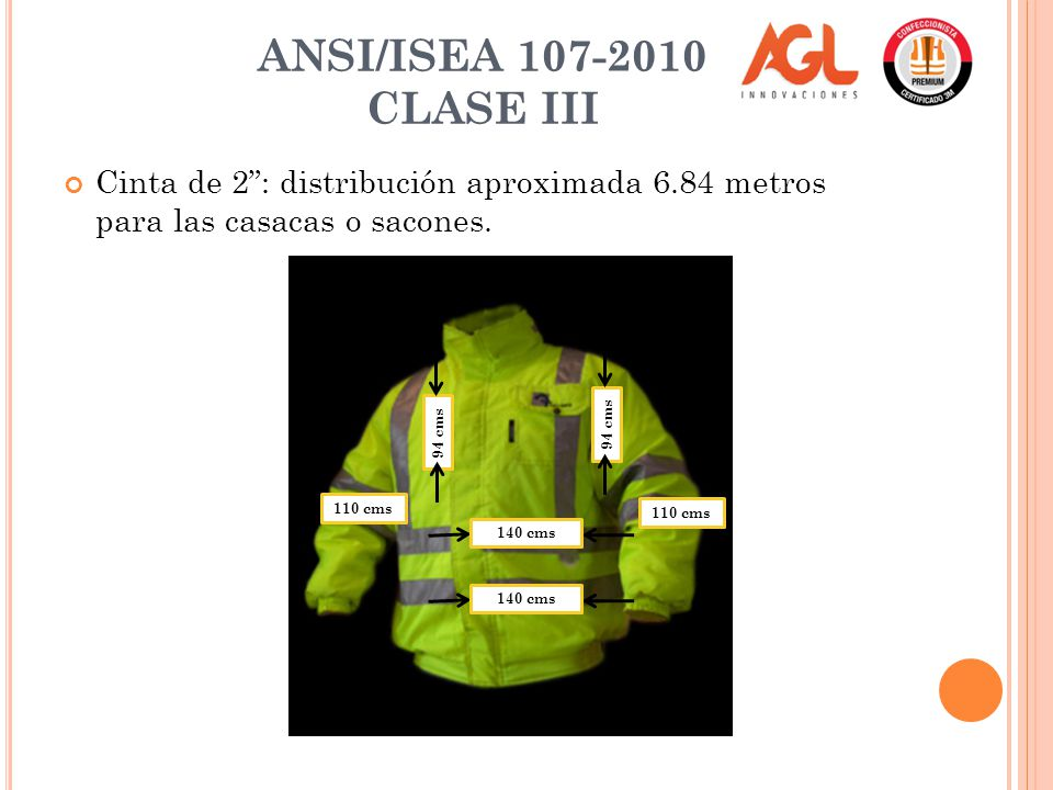 ANSI/ISEA 107-2010 CLASE III Cinta de 2 : distribución aproximada 6.84 metros para las casacas o sacones.
