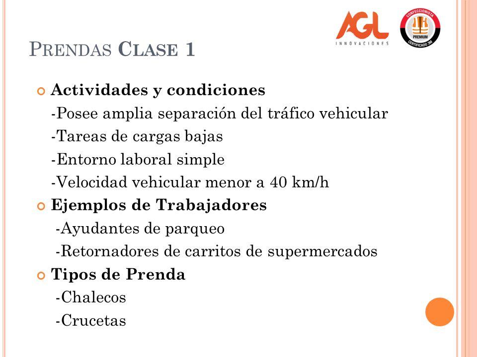 Prendas Clase 1 Actividades y condiciones