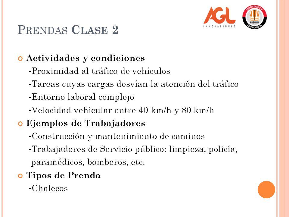 Prendas Clase 2 Actividades y condiciones