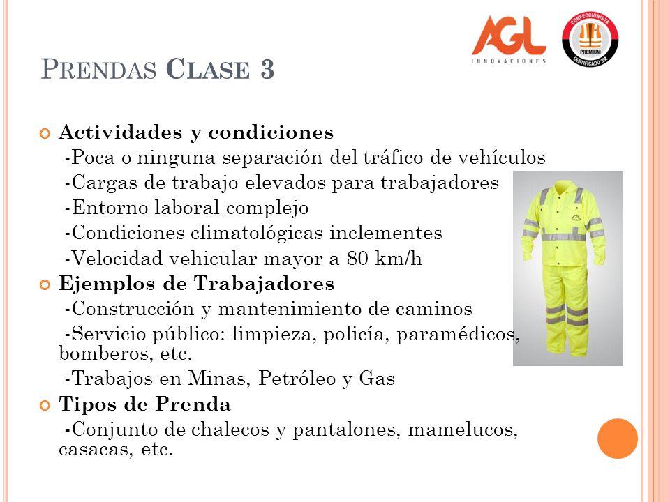 Prendas Clase 3 Actividades y condiciones
