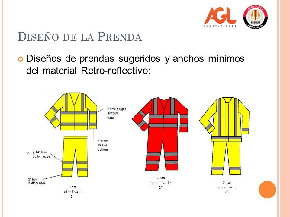 Diseño de la Prenda Diseños de prendas sugeridos y anchos mínimos del material Retro-reflectivo: Cinta reflectiva de 2