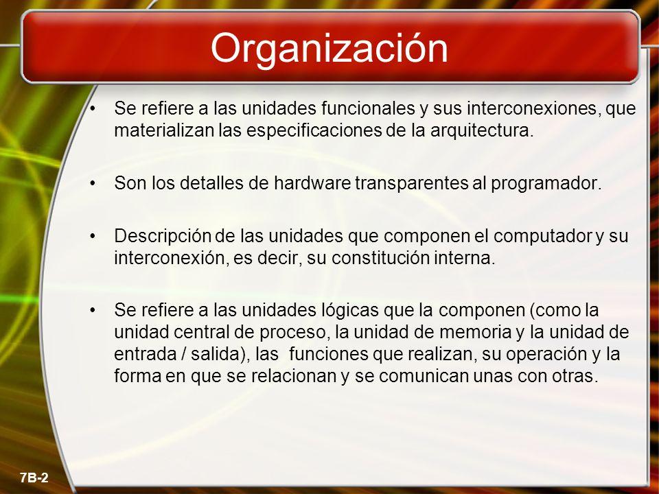 Organización Se refiere a las unidades funcionales y sus interconexiones, que materializan las especificaciones de la arquitectura.
