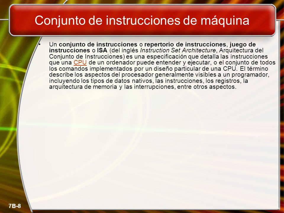 Conjunto de instrucciones de máquina