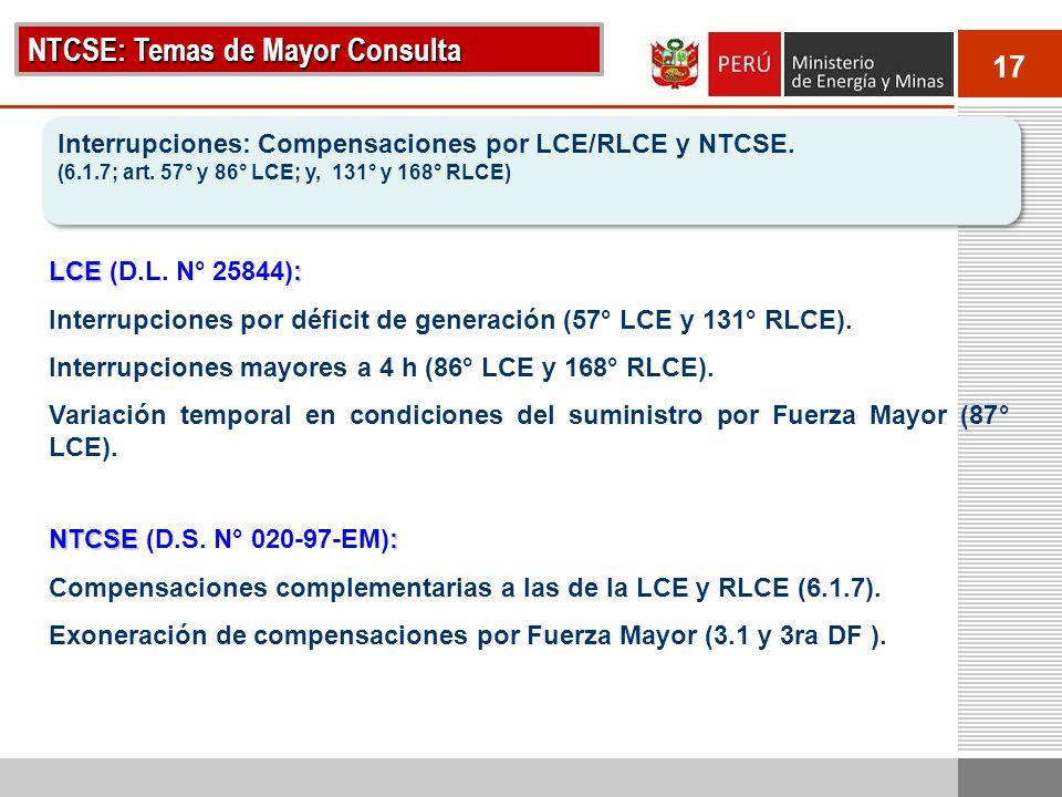 NTCSE: Temas de Mayor Consulta
