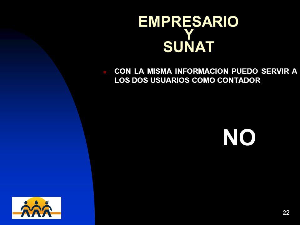 EMPRESARIO Y SUNAT CON LA MISMA INFORMACION PUEDO SERVIR A LOS DOS USUARIOS COMO CONTADOR.