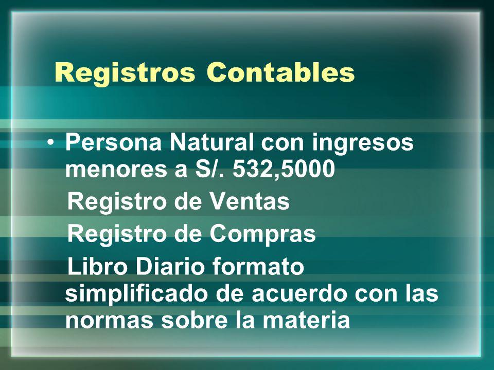 Registros Contables Persona Natural con ingresos menores a S/. 532,5000. Registro de Ventas. Registro de Compras.
