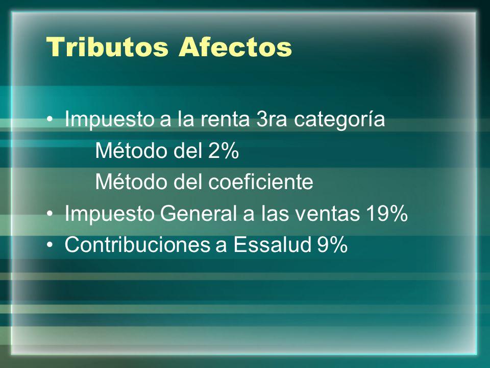 Tributos Afectos Impuesto a la renta 3ra categoría Método del 2%