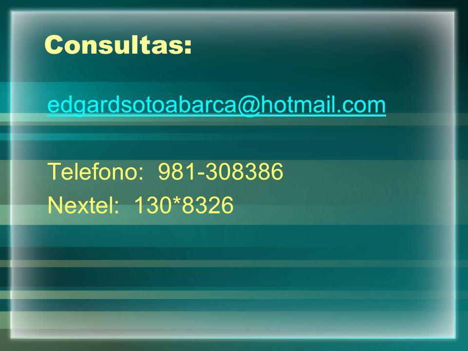 Consultas: edgardsotoabarca@hotmail.com Telefono: 981-308386