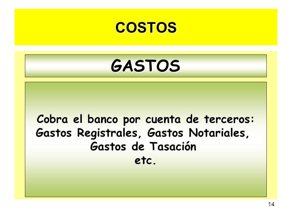 GASTOS COSTOS Cobra el banco por cuenta de terceros: