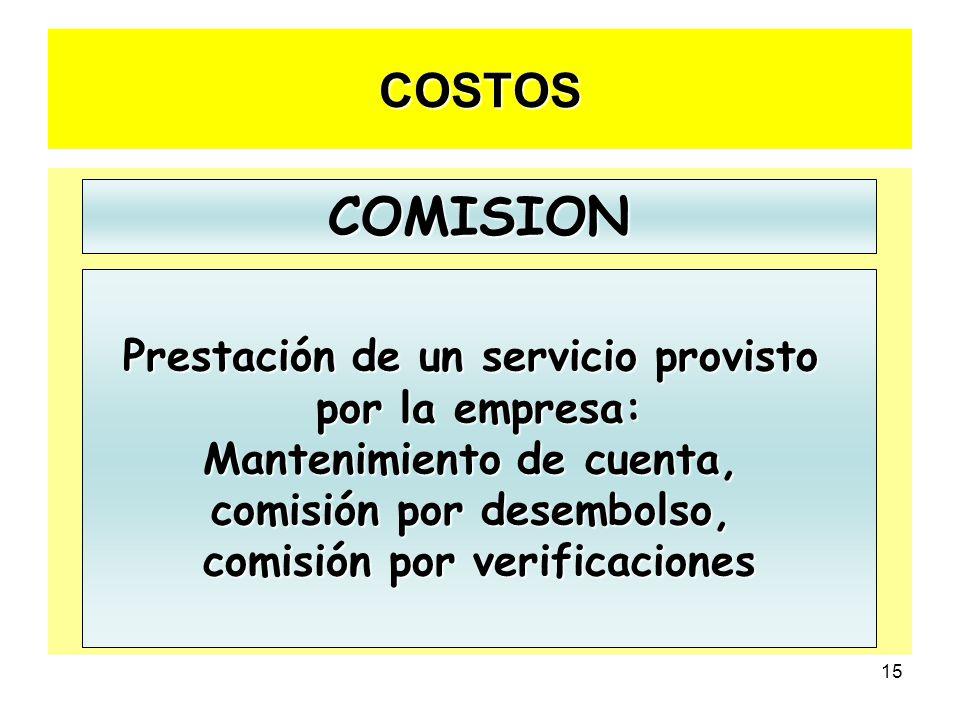 COMISION COSTOS Prestación de un servicio provisto por la empresa: