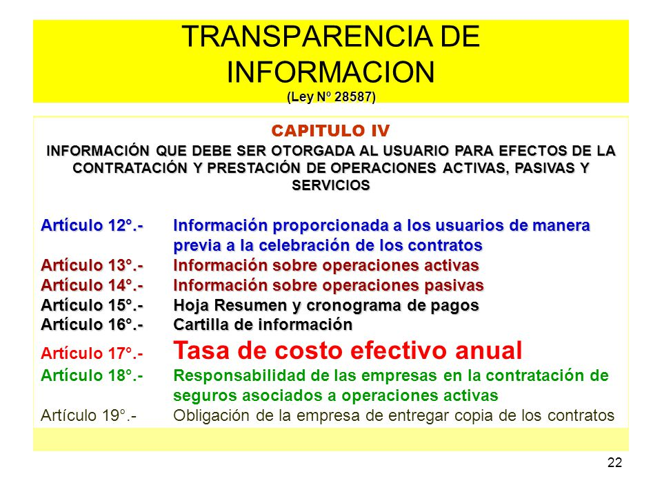 TRANSPARENCIA DE INFORMACION (Ley Nº 28587)