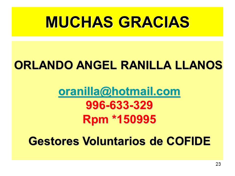 ORLANDO ANGEL RANILLA LLANOS Gestores Voluntarios de COFIDE