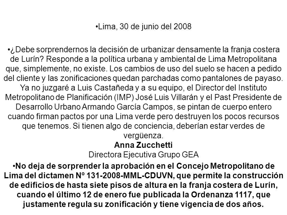 Lima, 30 de junio del 2008