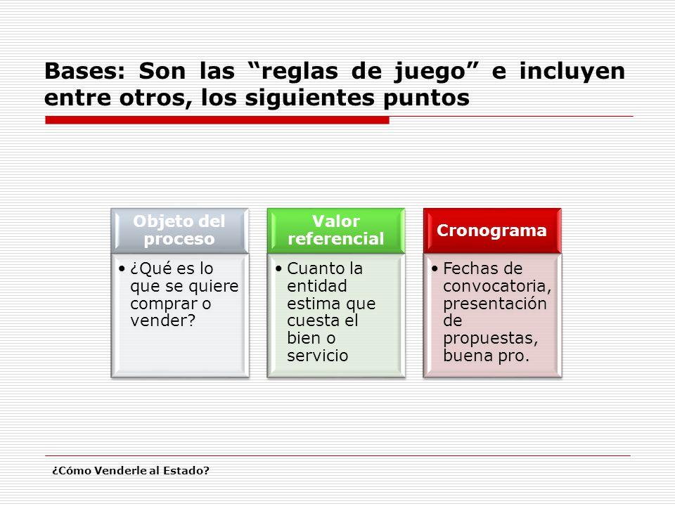 Bases: Son las reglas de juego e incluyen entre otros, los siguientes puntos