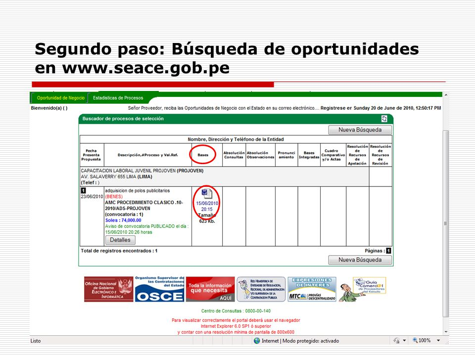 Segundo paso: Búsqueda de oportunidades en www.seace.gob.pe