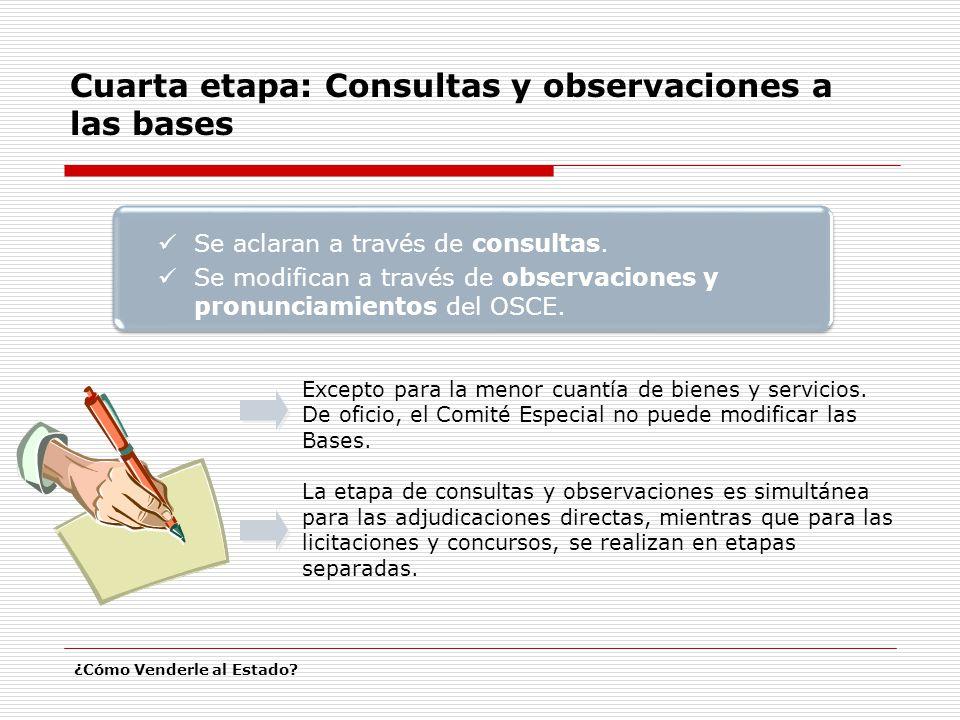 Cuarta etapa: Consultas y observaciones a las bases