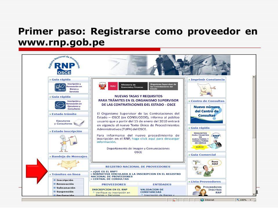 Primer paso: Registrarse como proveedor en www.rnp.gob.pe