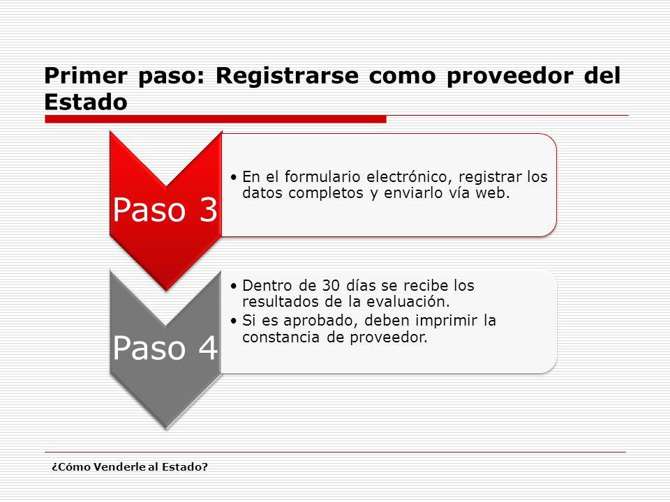 Primer paso: Registrarse como proveedor del Estado