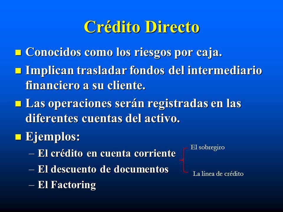 Crédito Directo Conocidos como los riesgos por caja.