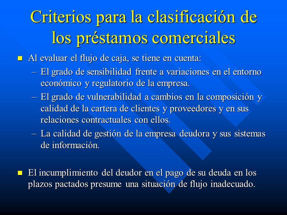 Criterios para la clasificación de los préstamos comerciales