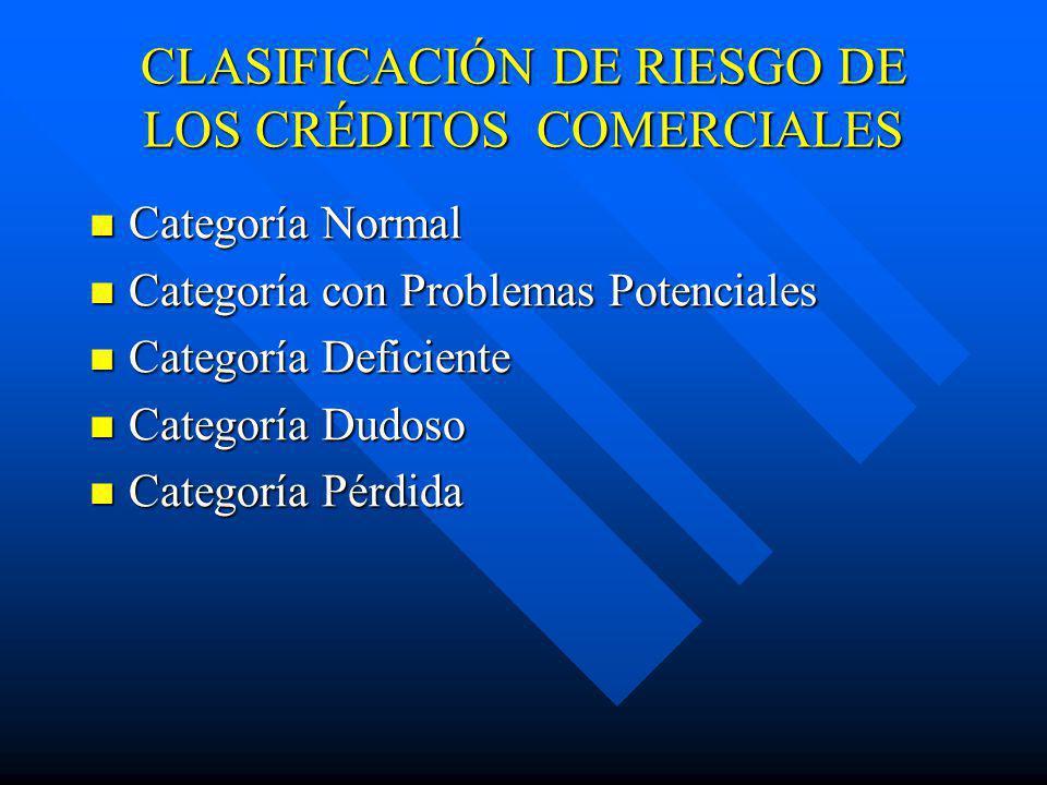CLASIFICACIÓN DE RIESGO DE LOS CRÉDITOS COMERCIALES