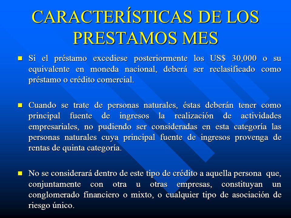 CARACTERÍSTICAS DE LOS PRESTAMOS MES